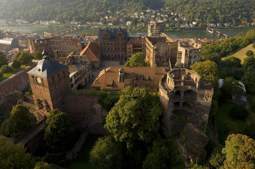 Aerial view of Heidelberg Palace