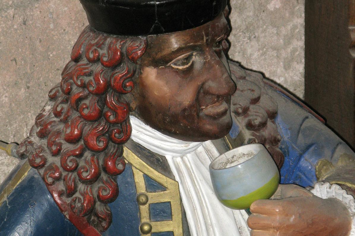 Detail of the head of a statue of the dwarf Perkeo. Image: Staatliche Schlösser und Gärten Baden-Württemberg, Julia Haseloff