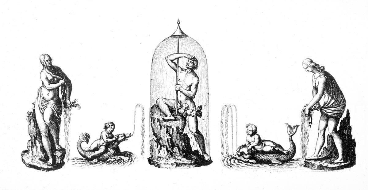 Entwurf von Salomon de Caus für Brunnenfiguren, Foto: Medienzentrum Heidelberg