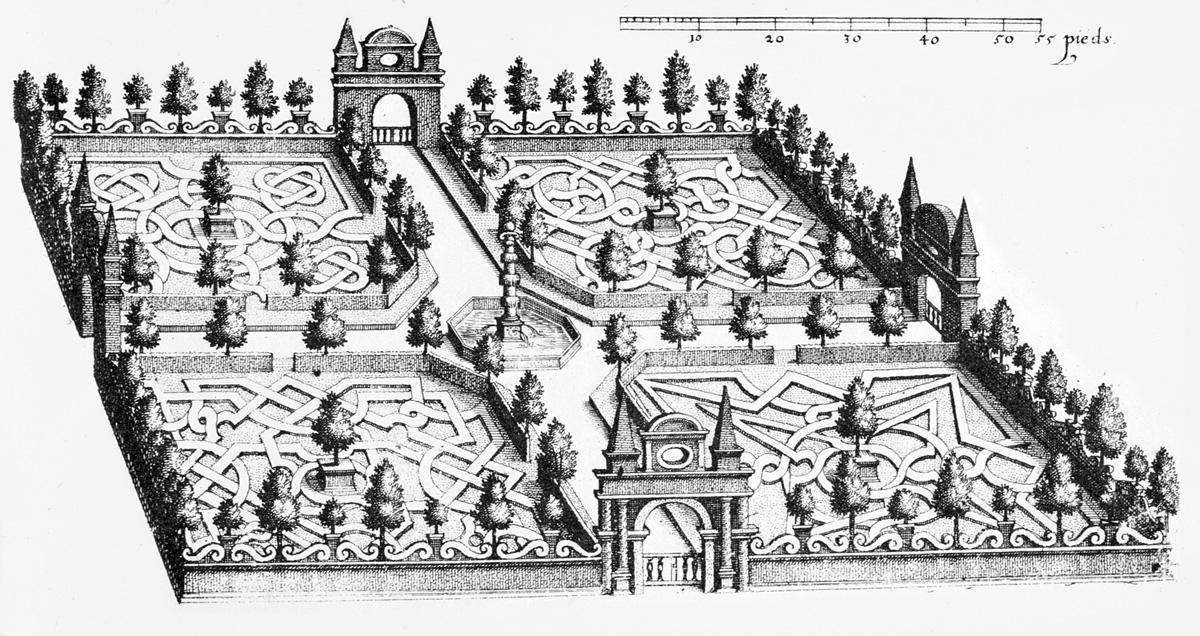 Entwurf von Salomon de Caus für den Hortus Palatinus mit Säulenbrunnen, Foto: Medienzentrum Heidelberg