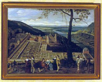 Painting of the Hortus Palatinus at Schloss Heidelberg, by Theodor Verhas, circa 1860. Image: Staatliche Schlösser und Gärten Baden-Württemberg, Andrea Rachele