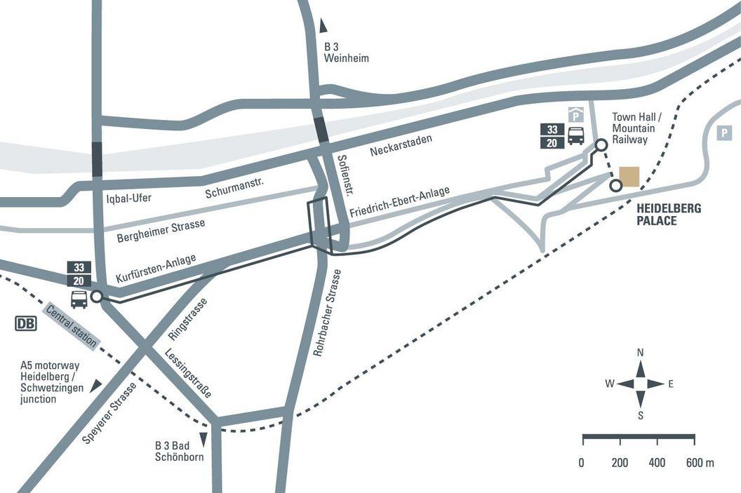 How to get to Heidelberg Palace, illustration: Staatliche Schlösser und Gärten Baden-Württemberg, JUNG:Kommunikation