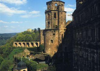 Ansicht des Glockenturms von Schloss Heidelberg