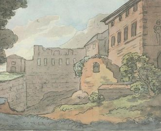 Watercolor pen and ink drawing of Heidelberg Palace by Johann Wolfgang von Goethe, circa 1820. Image: Goethe Museum Düsseldorf