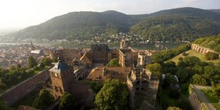 Aerial view of Heidelberg Palace and the Neckar valley