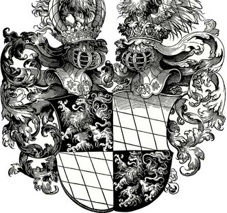 Coat of arms of Duke Ottheinrich and Duke Philipp of Bavaria. Image: Wikipedia, public