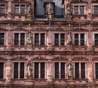 Vue de l'aile Friedrich du château de Heidelberg; crédit photo: Staatliche Schlösser und Gärten Baden-Württemberg, UrsulaWetzel
