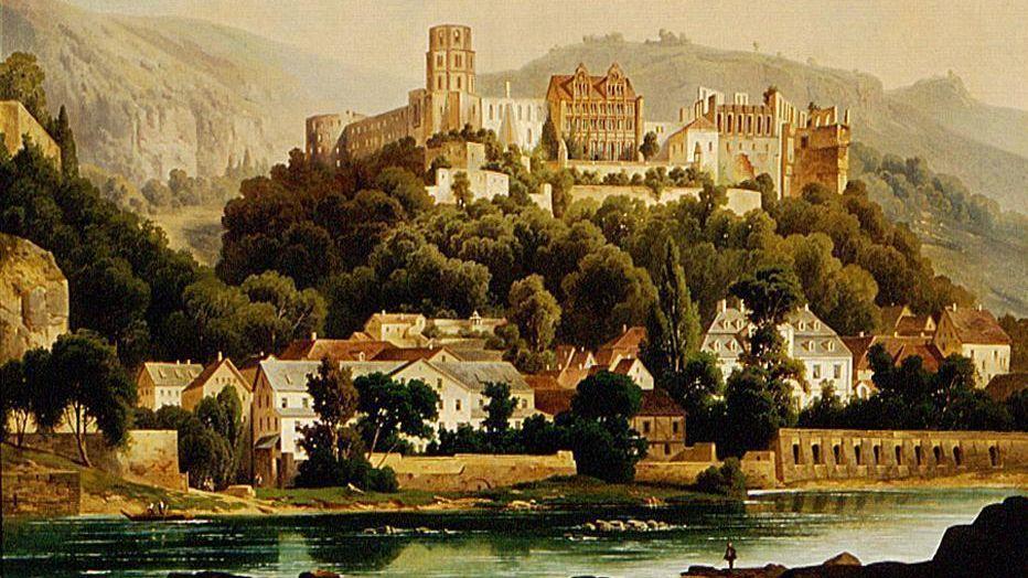 Schloss Heidelberg, Gemälde von Hubert Sattler, um 1900
