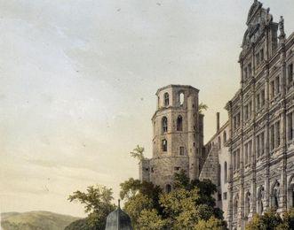 Lithografie von Schloss Heidelberg, Deroy nach Zeichnung von Bachelier, 1844