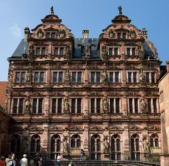 Courtyard view of the Friedrich Building at Heidelberg Palace