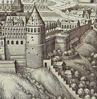 Detail aus einem Kupferstich von Schloss und Schlossgarten Heidelberg von Matthäus Merian um 1620