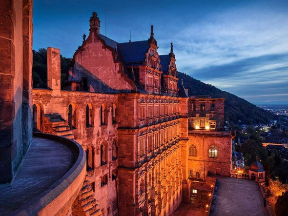 Heidelberg Palace, exterior view by night