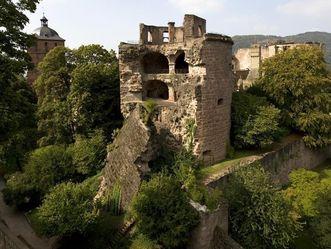 Image: View of the powder tower at Heidelberg Palace