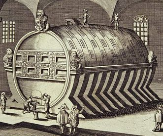 Copper engraving of the Great Barrel at Heidelberg Palace, 18th century. Image: Staatliche Schlösser und Gärten Baden-Württemberg, Andrea Rachele