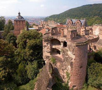 Luftansicht des Krautturms von Schloss Heidelberg; Foto: Staatliche Schlösser und Gärten Baden-Württemberg, Achim Mende
