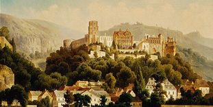 Heidelberg Palace in a painting by Hubert Sattler, circa 1900