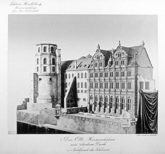 Foto eines Modells zur Rekonstruktion des Ottheinrichsbaus von Schloss Heidelberg