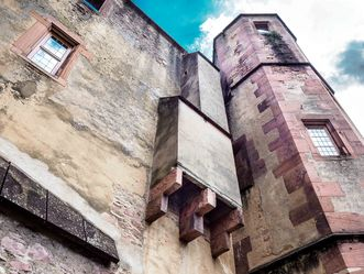 Schloss Heidelberg, Außenansicht Aborterker