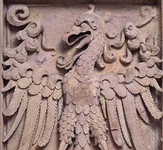 Coat of arms relief of King Ruprecht I, on the Ruprecht Building at Heidelberg Palace. Image: Staatliche Schlösser und Gärten Baden-Württemberg, Arnim Weischer