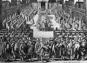 The Synod of Dort (1618/19), 17th-century engraving. Image: Wikipedia, public