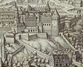 Kupferstich von Schloss und Schlossgarten Heidelberg, wohl 17. Jahrhundert