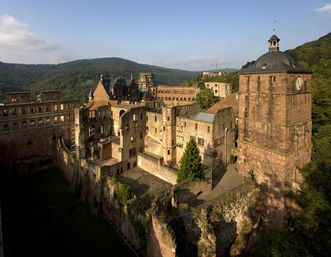 Aerial view of the moat around the ensemble of buildings that make up Heidelberg Palace. Image: Staatliche Schlösser und Gärten Baden-Württemberg, Achim Mende