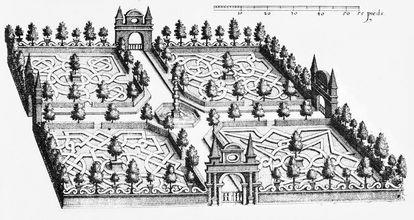 Design by Salomon de Caus for the Hortus Palatinus with pillared fountain, image: Medienzentrum Heidelberg