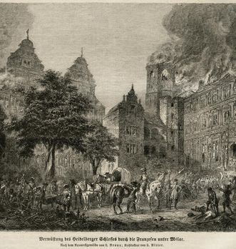Destruction of Heidelberg Palace by French troops under Mélac, copper engraving based on a painting by L. Braun. Image: Stadtarchiv Heidelberg