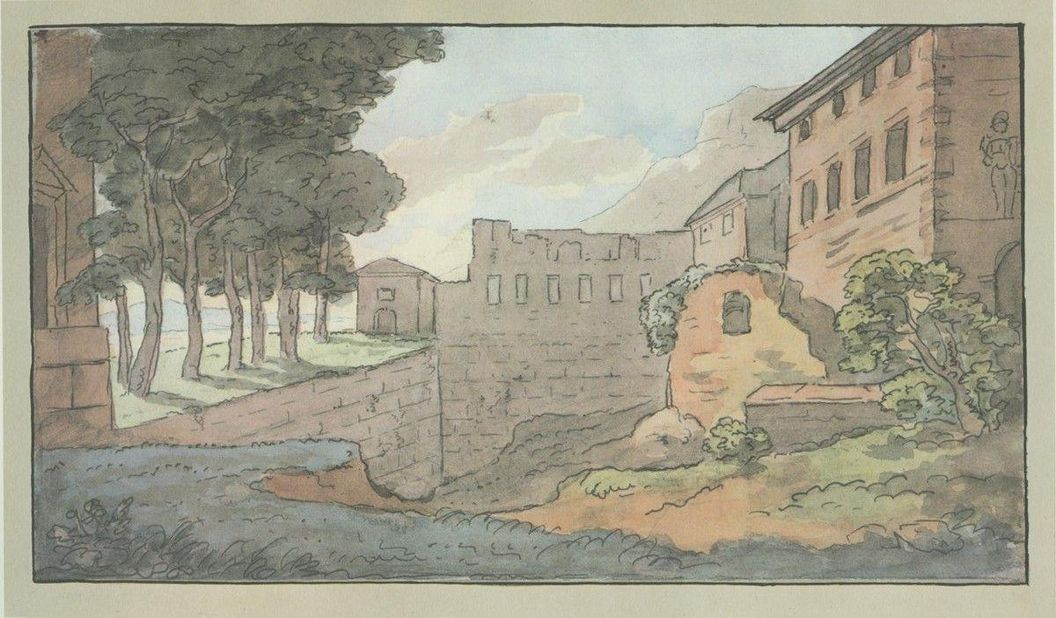 Aquarellierte Federzeichnung des Heidelberger Schlosses von Johann Wolfgang von Goethe, um 1820; Foto: Goethe-Museum Düsseldorf